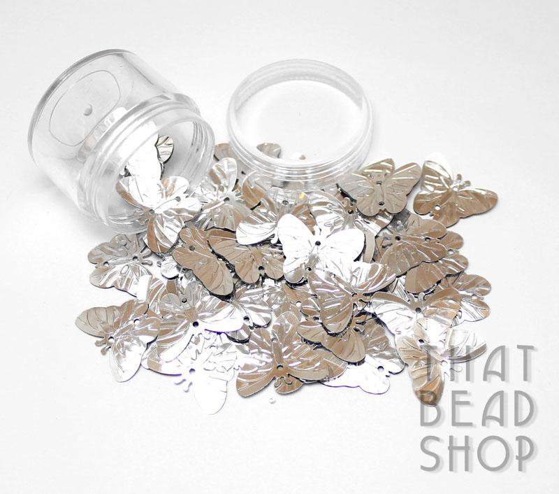 Silver Metallic Butterfly Sequins